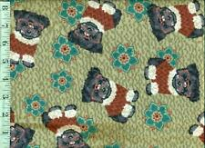 1/2 yard FLANNEL Little Black Dogs in Glasses and Santa Sweaters on Olive BTHY
