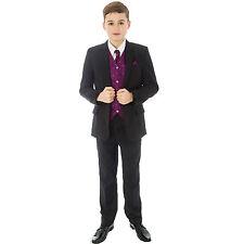 Boys Black Suit 5 Piece Wedding Page Boy Baby Formal Party Smart Black/Purple