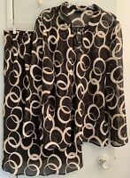 Venezia Jeans 2 Pc Set Sheer Blouse Plus Sz 3X/4X Lined Skirt Sz 14/16 Blk Print