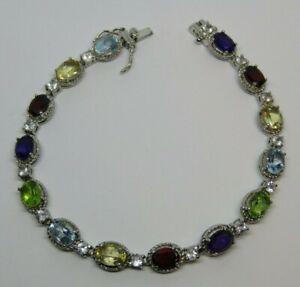 """RS Ross Simons Multi Gemstone Tennis Bracelet 925 Sterling Silver 7.25"""" Long"""