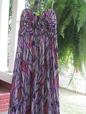 Gianni Bini Maxi Dress Gorgeous Strapless Purple Feather Print Sz M