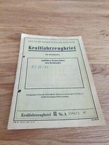 KFZ Brief Kraftfahrzeugbrief DDR Kraftrad Krad Motorrad MZ RT 125/2 Bj 1956