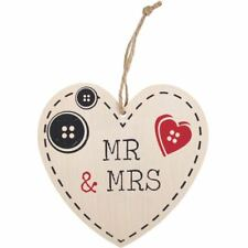 Valentines Day Wedding Gift Wooden Shabby Chic Mr And Mrs Hanging Wooden Heart