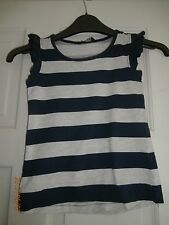 George Sl/Less Navy & Grey Wide Stripe Frilled sleeve Top Age 5 - 6 years