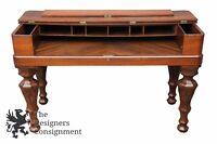 "Antique 19th Century 53"" Walnut Spinet Piano Desk Flip Top Turned Leg Sofa Table"
