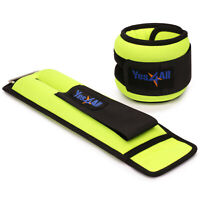 Yes4All Ankle/Wrist Weight Pair Set with Adjustable Strap Pair of 3 lbs Lime