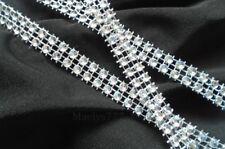 ruban strass 3M x 2 rangs + 1M Cadeaux décoration mariage fêtes (argenté).