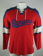 New York Rangers NHL Men's Red & Blue Lace Up Collar Pullover Sweatshirt