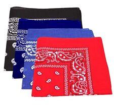 Pack Of 4 Paisley Design Bandanas Royal Blue Navy Blue Black Red BEST DEAL