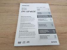 originale pour Onkyo mode d'emploi DV-SP402E garantie 12 mois