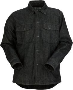Z1R Long Sleeve Cotton Denim Motorcycle Riding Shirt (Black) Choose Size