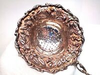 Antique S Kirk & Son Sterling Silver Rose Hand Chased Tea Strainer Repousse 1880