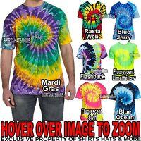 Mens  Tie-Dye T-Shirt 100% PRESHRUNK Cotton  Adult Tye-Die Tee S, M, L, XL NEW!