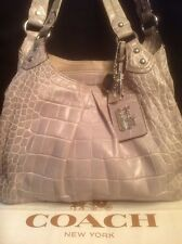 Coach 14602 Madison Maggie Gray Lavender Crocodile Exotic Leather+dust Cover EUC