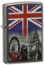 Zippo Regular London Satin Chrome Windproof Refillable Cigarette Petrol Lighter
