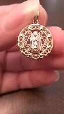 10K GOLD TRI-COLOR SCROLL FILIGREE 'OUR LADY OF GUADALUPE' CHARM  PENDANT
