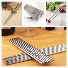 New 2 Pairs Non-slip Stainless Steel Chopsticks Chop Sticks Silver Fashion