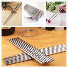 New 2 Pairs Non-slip Stainless Steel Chopsticks Chop Sticks Silver Fashion