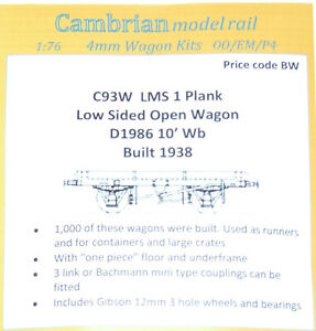 CAMBRIAN C93W LMS 12ton 5 PLANK HIGH-SIDED GOODS WAGON D1667 NEW OO GAUGE
