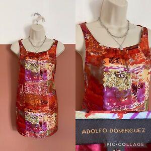 Adolfo Dominguez Patterned Sleeveless Top Size 40 UK12 Silk Spanish