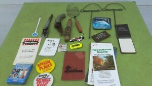 Vintage junk drawer lot oil spout maps rug beaters cards note pads key rings