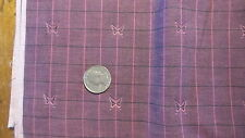 Antique Cotton Fabric Fuschia/Black Plaid Butterfly Chambray 1 Yd/36""