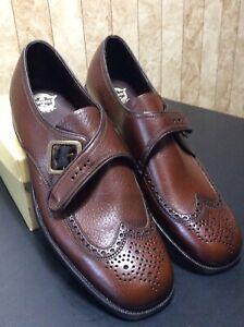 Vintage Florsheim Men's Shoes NOS 31200 Parker Brown Wingtip Buckle Sz 12C