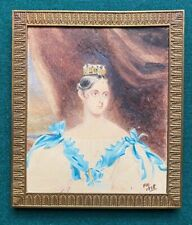 Antique Portrait of a Young Queen Victoria & Crown Signed Frederick Harding 1838