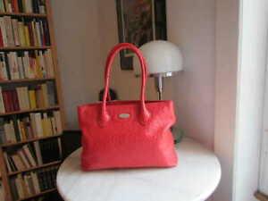 FURLA Shopper rot Leder Straußen-Prägung TOP Designer-Tasche Sommer Urlaub