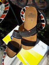 Scholl Daphne Beaded Black Sandals Mules Size UK 7 EU 41 ☆ fit 7.5☆Sliders☆New