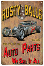 Rusty Balls Garage Shop Reproduction Hot Rod Metal Sign - 18 x 30 In RVG220