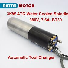 CNC 3KW Water Cooled ATC Permanent Power Electric Spindle Motor BT30 Mill Router