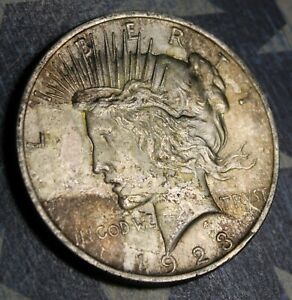 1923 PEACE SILVER DOLLAR TAPE TONER COLLECTOR COIN. FREE SHIPPING