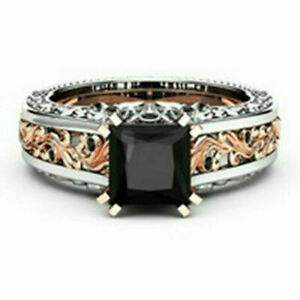 Gorgeous Women Rose Gold Filled Wedding Rings 2.10ct Black Sapphire Size 9
