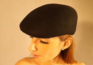 New Stylish Flat Cap Black 100% Wool Felt Unisex Fashion Hat S M L XL