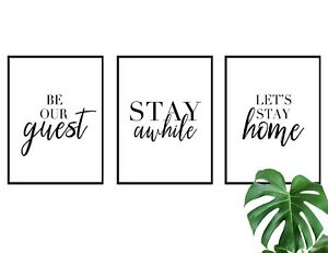 Set of 3 Wall Art Quote A3 A4 Print Poster Home Guest Room Decor Love Gift Idea