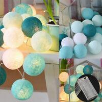 20Led Vintage Pastel Cotton Ball Patio Party String Lights – Fairy Wedding Decor