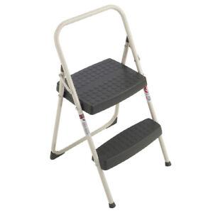 Werner 2-Step 200-lb GREY BLACK Steel Step Stool Non Slip Treads 212-6