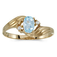 10k Yellow Gold Oval Aquamarine And Diamond Ring