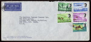 BRITISH SOLOMON Is.1969 AIR COVER to USA 5 COL.FRANKING