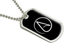 Atheism Symbol - Atheist - White on Black - Military Dog Tag Luggage Keychain