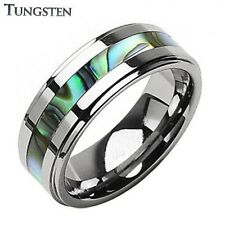 Mens Tungsten Ring With An Abalone Shell Inlay Wedding Band Engagement (E21)