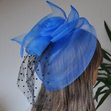 Fascinator Pince à Cheveux Voile à points plumes bijou pour mariage fleur bleu