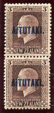Cook Islands Aitutaki 1917 KGV 3d chocolate - vertical pair superb MNH. SG 16b.