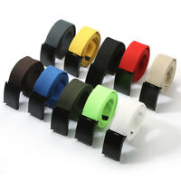 Women Men Sports Canvas Plain Webbing Waistband Metal Buckle Belt Waist Strap