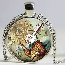 Alice in Wonderland Necklace Pendant Rabbit with Watch Silver Chain Glass