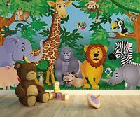 Children's bedroom wallpaper wall mural 366x254cm Animals in the Jungle - green