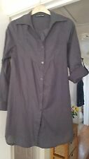 Atmosphere Dark Grey Striped Blouse, Collared, V Neck, 100% Cotton, Size 10, VGC