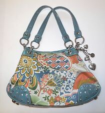 Kathy Van Zeeland Floral Studded Purse Satchel Hand Bag Blue Multi Color
