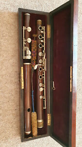 """Beautiful, very old, beautiful  Boehm flute; made of wood """"Thibouville"""" (Paris?)"""